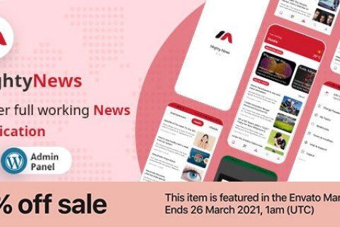 MightyNews v26 – 带有 WordPress 后端的 Flutter 2.0 新闻应用