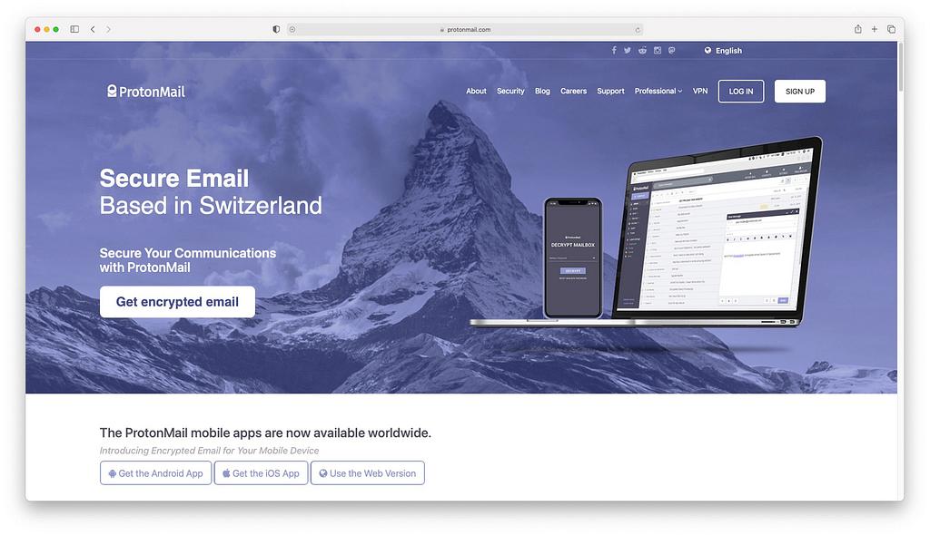 ProtonMail主页。