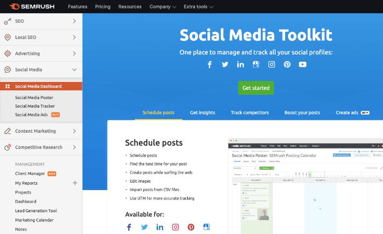 Semrush社交媒体工具包