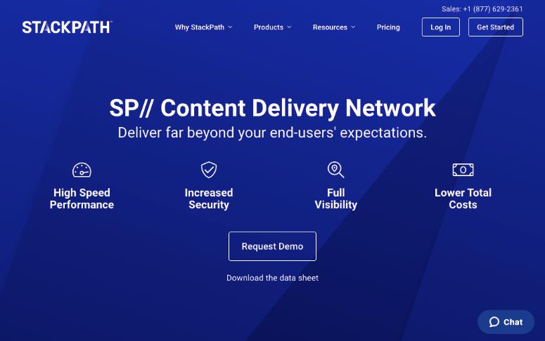 StackPath CDN主页