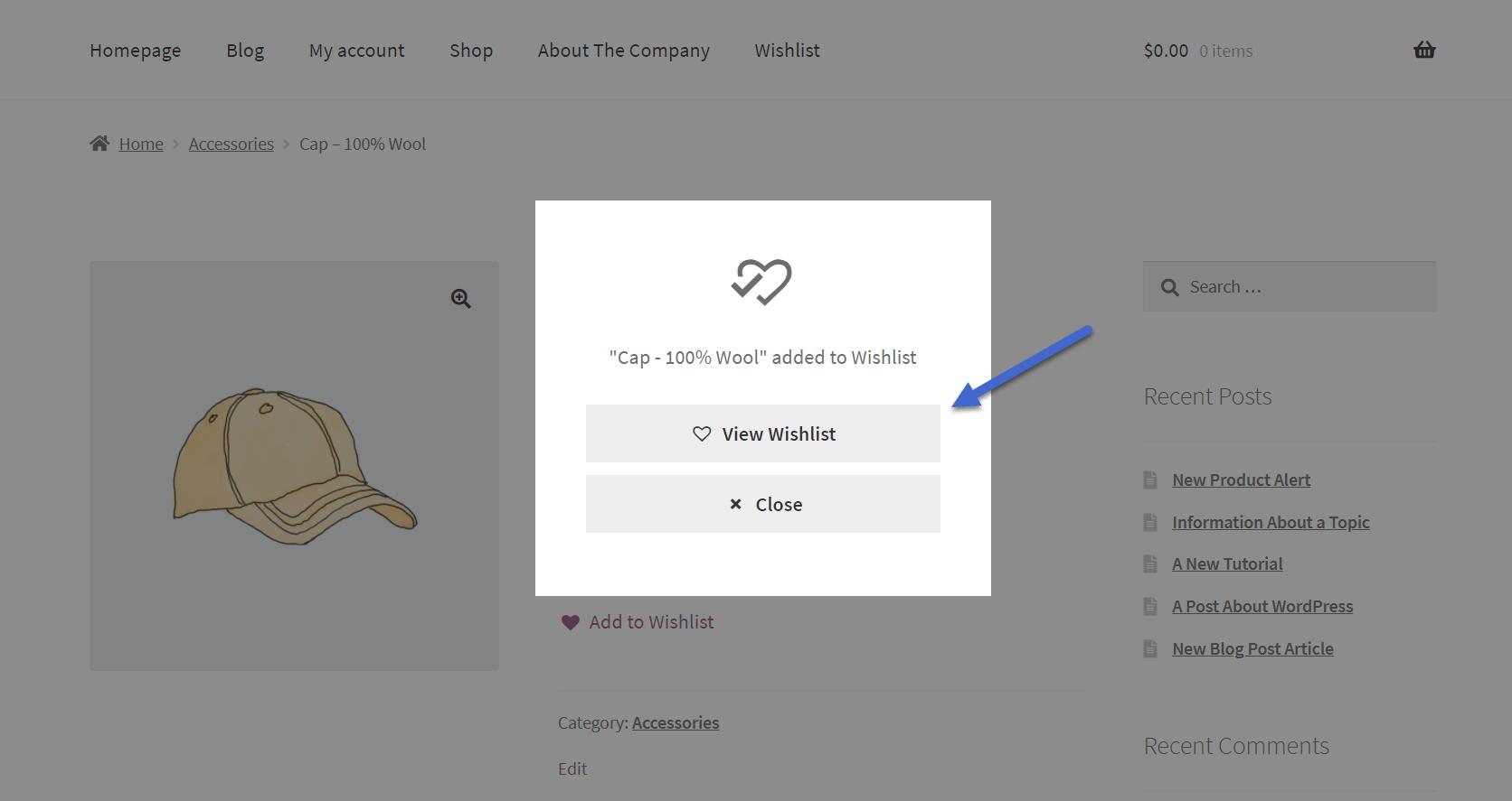 查看WooCommerce愿望清单按钮