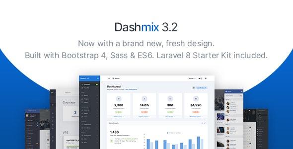 Dashmix v3.2 – Bootstrap 4管理仪表板模板和Laravel 8入门套件