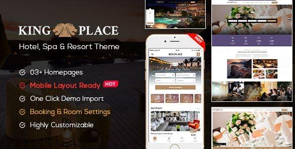KingPlace-酒店预订,水疗和度假WordPress主题(支持移动版式)