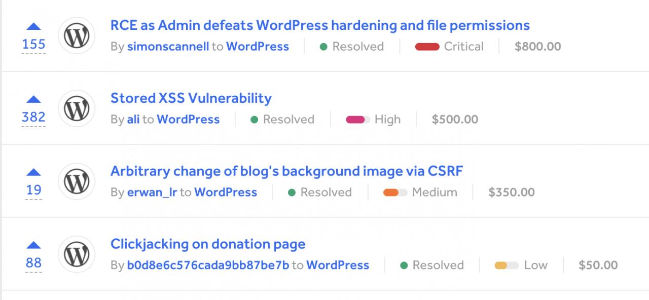zerodium暂时将三倍的支出分配给300k的wordpress漏洞利用Zerodium暂时使WordPress漏洞的支出增加了三倍,达到了$ 300K