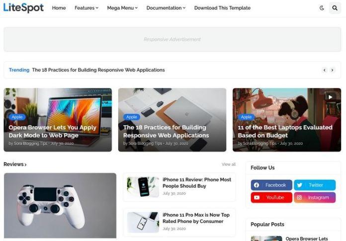 LiteSpot Blogger模板