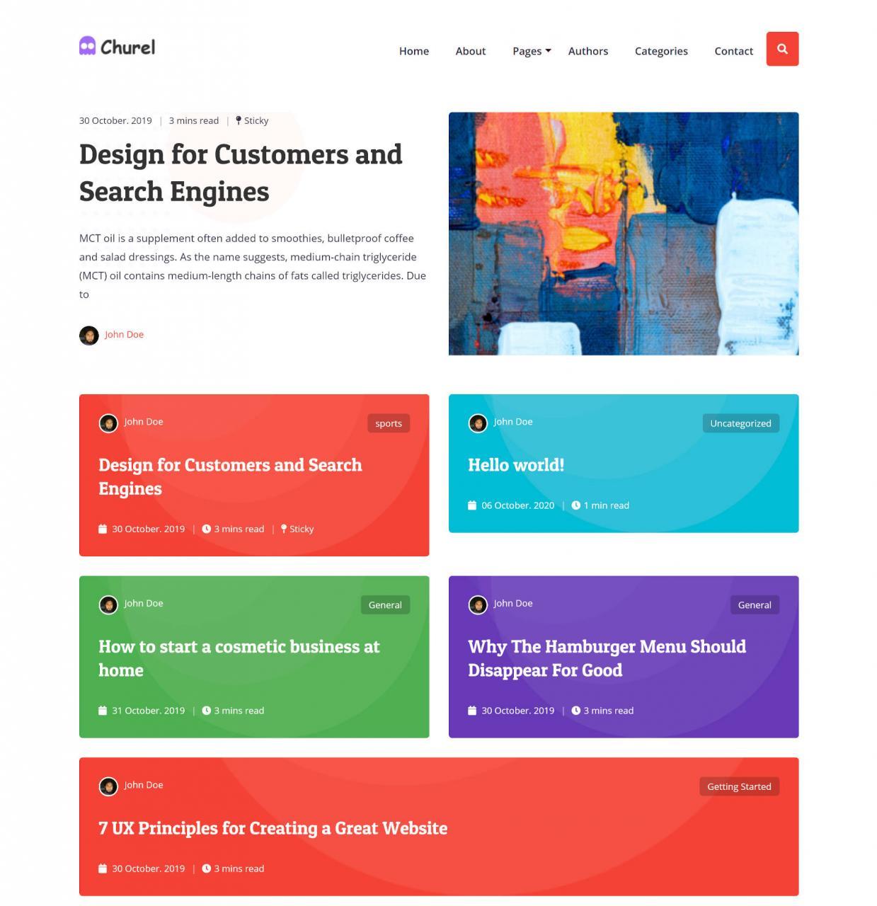 churel是一个多彩且极简的块就绪WordPress主题5 churel是一个色彩丰富且极简的块就绪WordPress主题