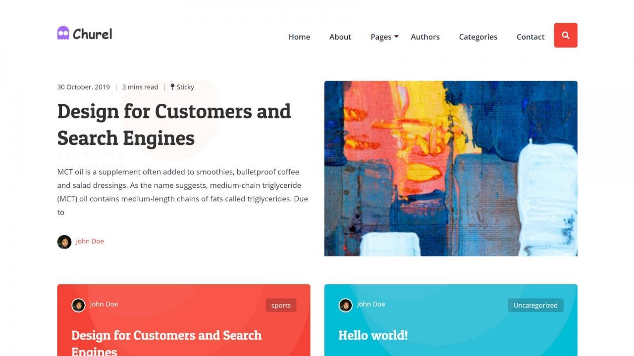 churel是一个多彩且简约的块就绪WordPress主题Churel是一个丰富多彩且极简的块就绪WordPress主题