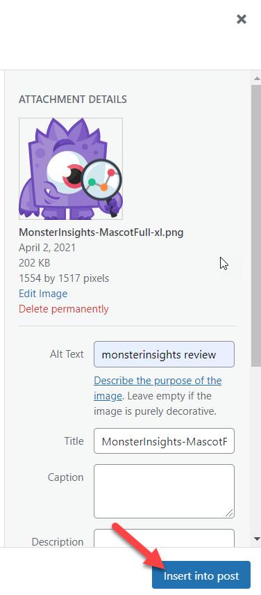 自动向图像添加ALT标签-插入媒体