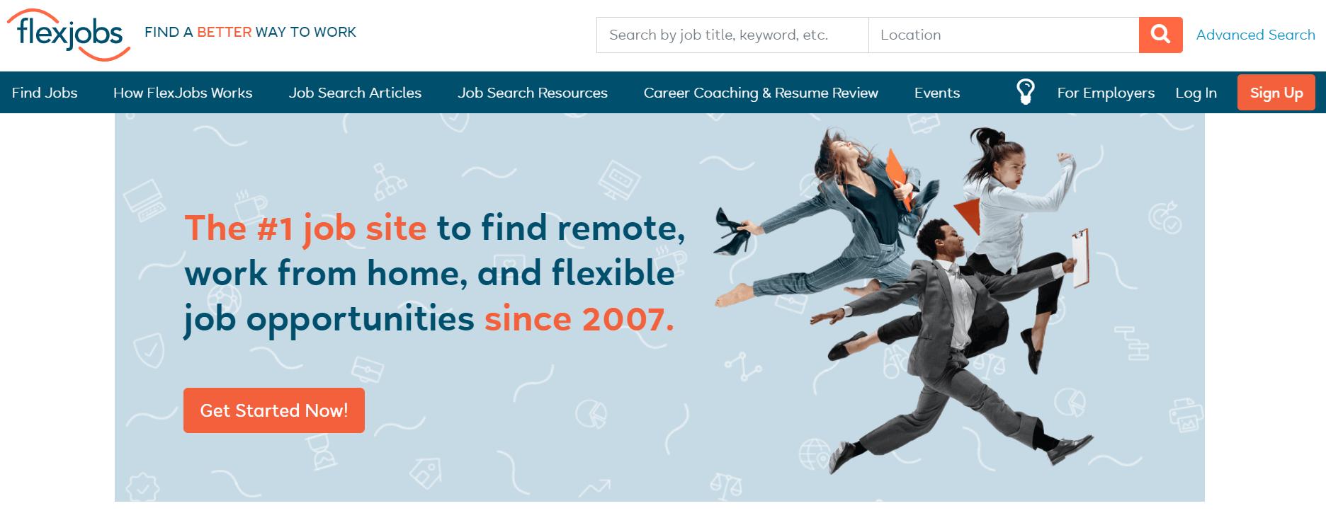 Flexjobs主页。