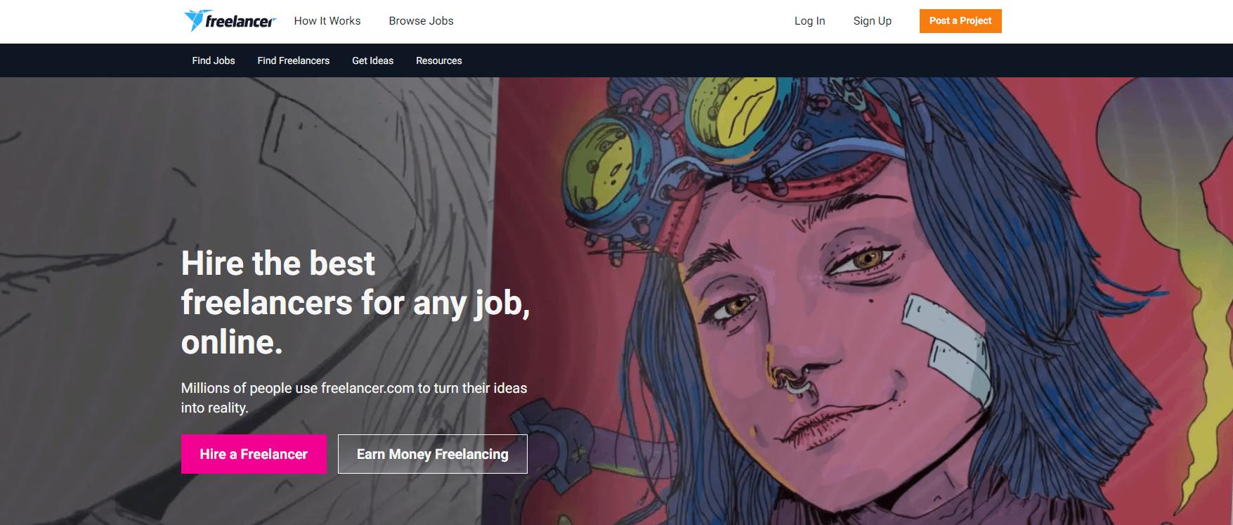 Freelancer.com主页。