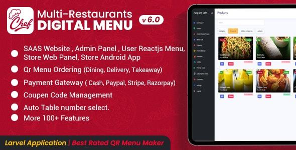 Chef v6.0.0 –多餐厅Saas –具有非接触式数字菜单的管理面板– React Native App