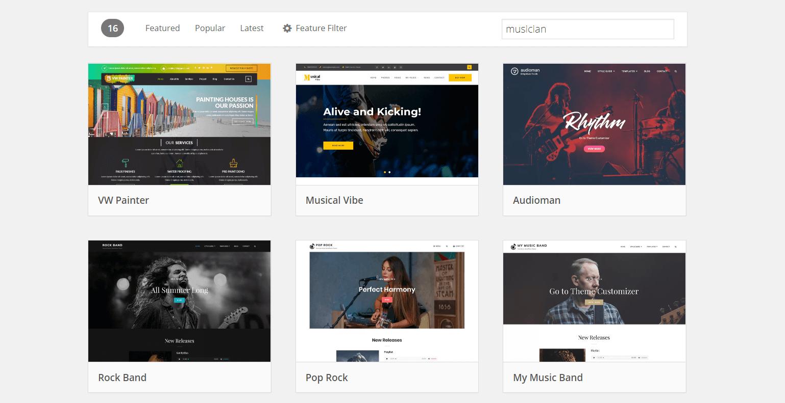 WordPress.org上的利基音樂家主題。