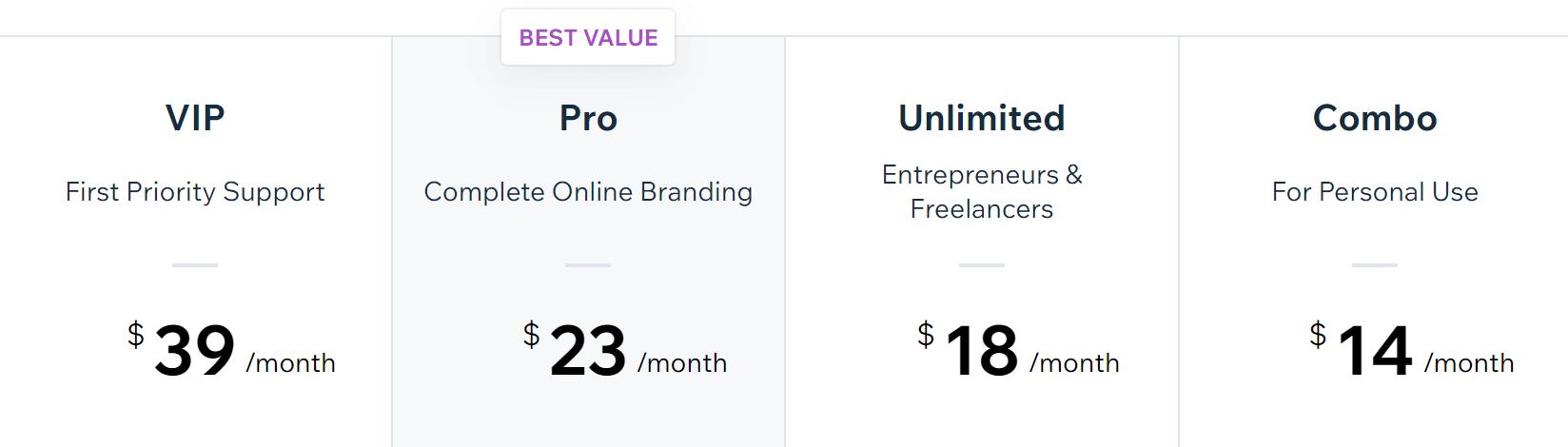 Wix的定价选项。