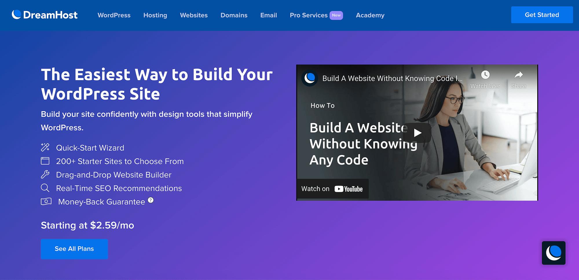 DreamHost网站构建器。