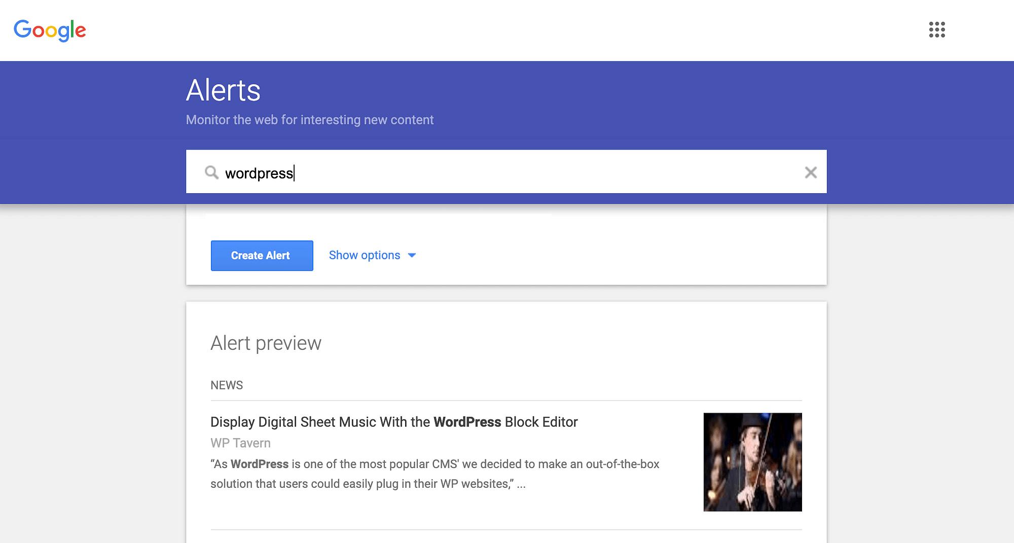 Google警报仪表板。