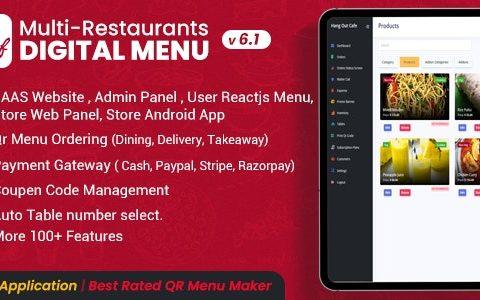 Chef v6.1.0 –多餐厅Saas –具有非接触式数字菜单的管理面板– React Native App