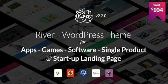 Riven - 应用程序、游戏、单一产品登陆页面的 WordPress 主题