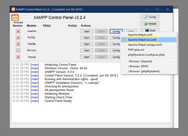 访问 Apache httpd-ssl.conf 文件。