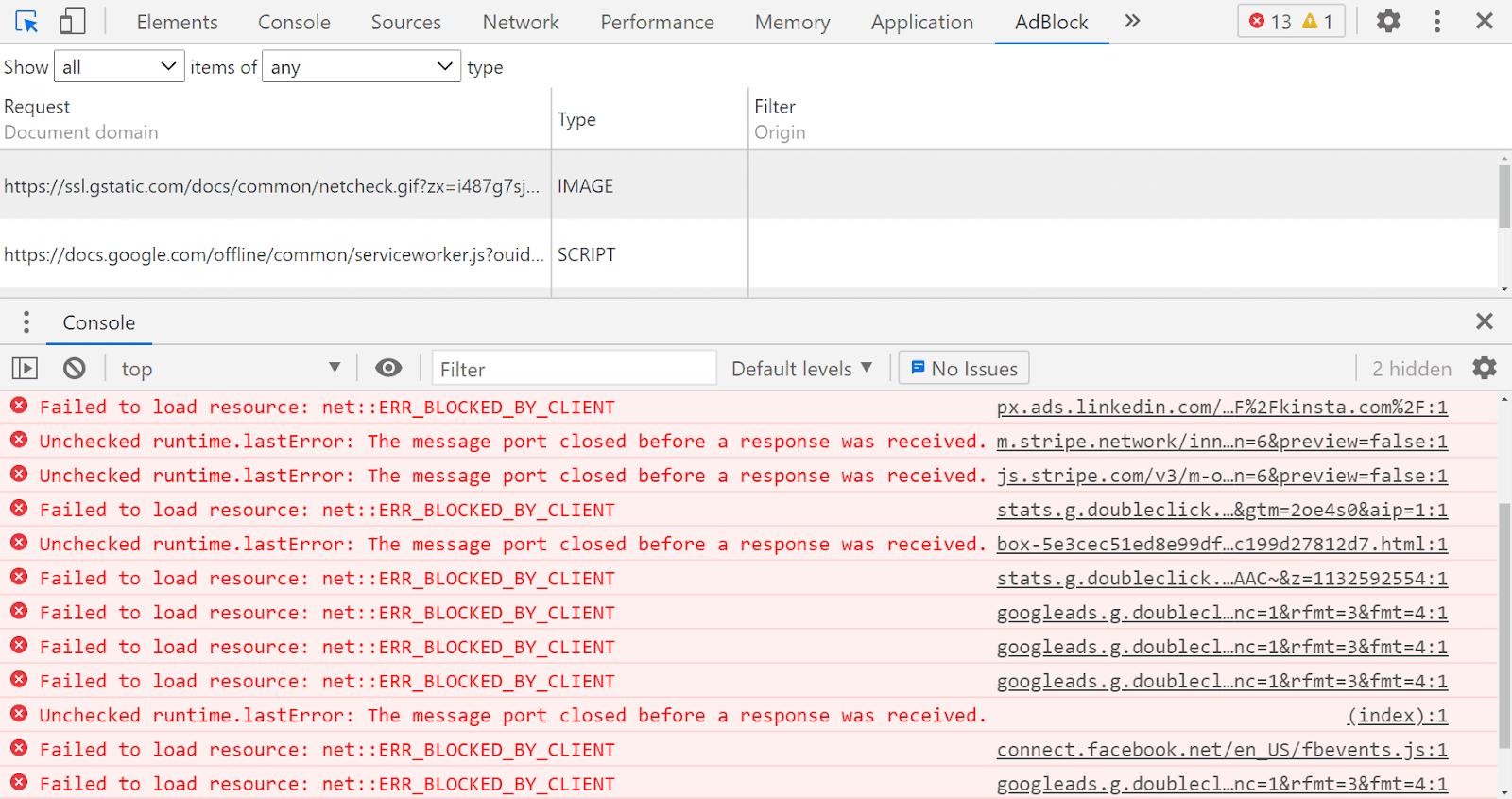 Google Chrome 控制台,设置为 AdBlock Plus 选项卡并显示几个红色错误消息。