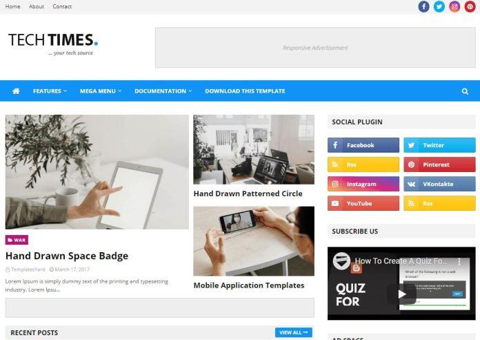 TechTimes 博客模板