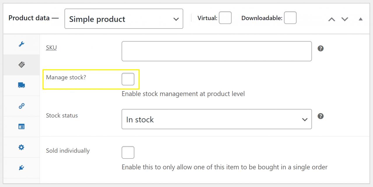 WooCommerce 库存管理的第一步:启用该工具。