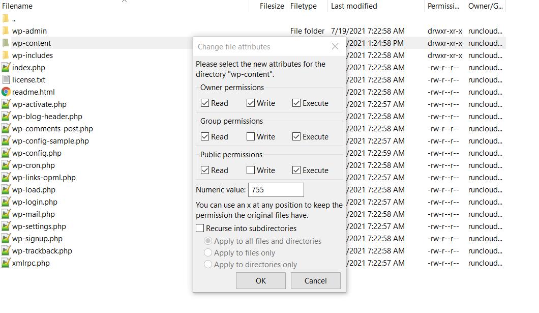 使用 FileZilla 更改 WordPress 文件权限