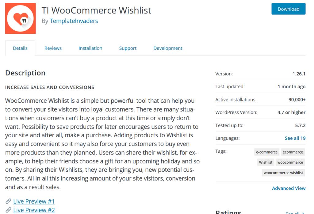 woocommerce 愿望清单插件 - ti woocommerce 愿望清单