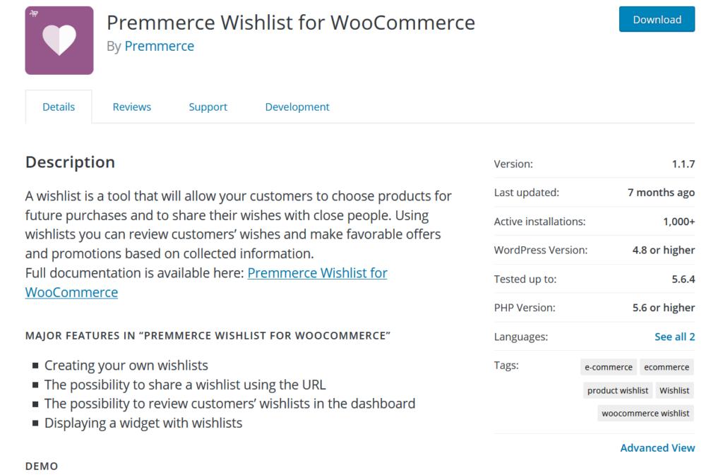 woocommerce 愿望清单插件 - premmerce 愿望清单