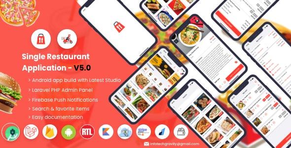 Single Restaurant v5.0 – 带有 Laravel 管理面板的 Android 用户和送货员应用程序