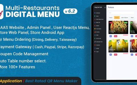 Chef v6.2.0 – Multi-restaurant Saas – Contactless Digital Menu Admin Panel with – React Native App