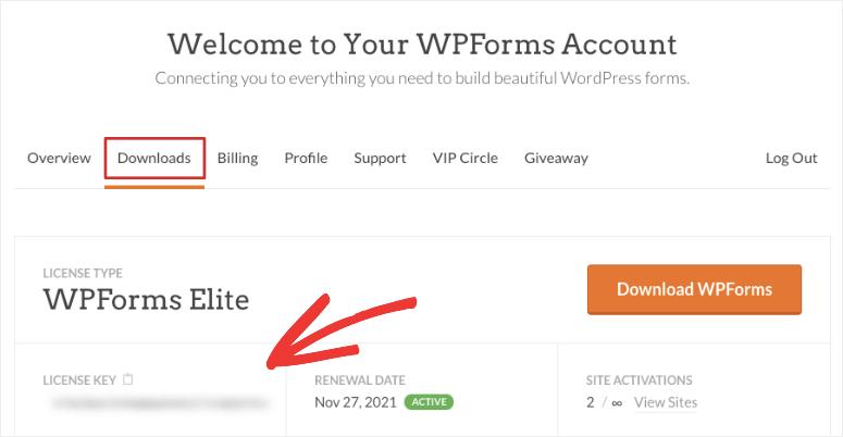 WPForms 许可证密钥