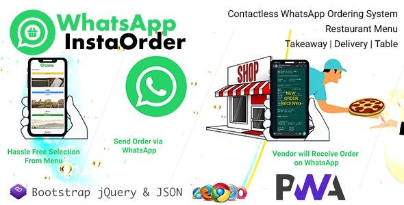 WhatsApp InstaOrder v1.1.4 – ContactLess WhatsApp 订购 | 餐厅菜单 – 外卖 | 交货 | 桌子