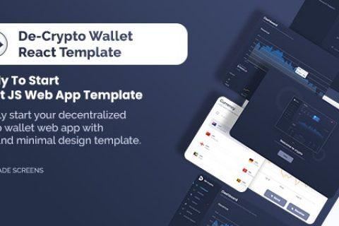 De-Crpyto 钱包 v1.1 – 加密货币 Web 应用程序 React JS 模板