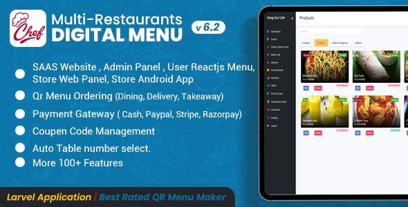 Chef v6.2.1 – Multi-restaurant Saas – Contactless Digital Menu Admin Panel with – React Native App
