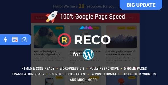 Reco v4.7.0 – 博客或新闻网站 WordPress 的模板