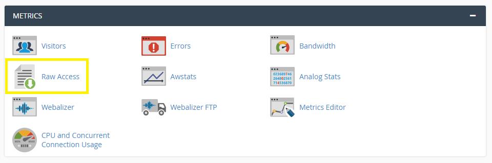 "Web主机控制面板中的""访问日志""选项。"