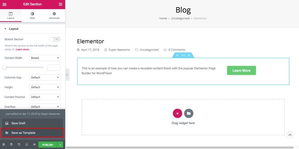 Elementor可重用內容塊第1步