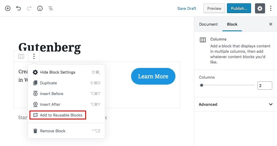 Gutenberg可重用內容塊第1步