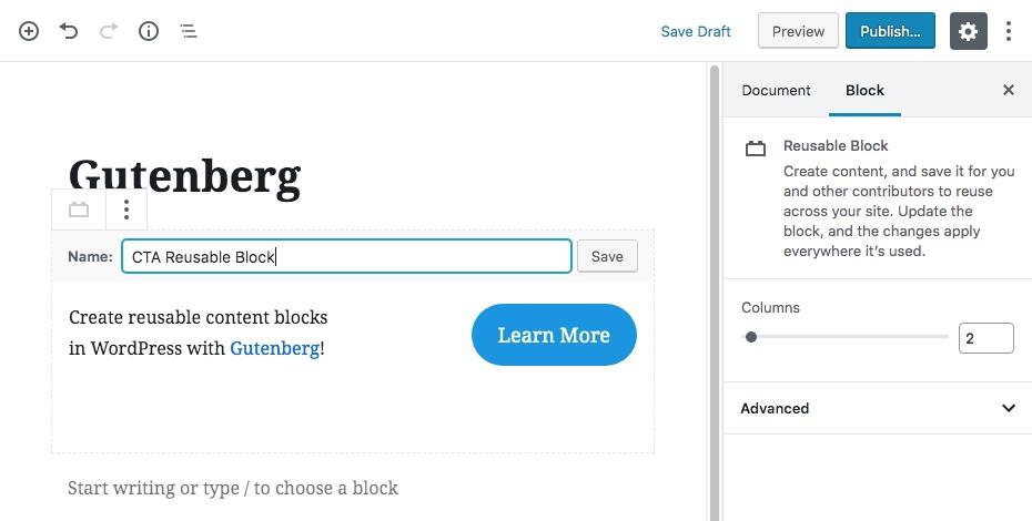 Gutenberg可重用內容塊第2步